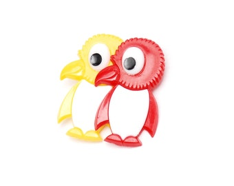 Vintage DDR penguin brooch, cute colorful red and yellow animal pin for kids, collectible fashion accessory from Germany, 1980s