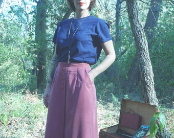 Vintage 80s - 90s faux suede long skirt waist high T.44 raspberry pink
