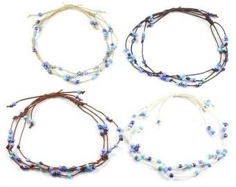 Handmade 3 String Blue Bead Surf Anklet