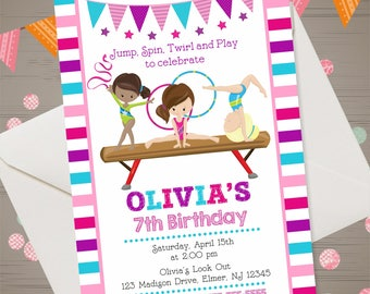 GYMNASTICS Invitation Gymnastics Birthday Invitation Gymnastics Invite Gymnastics Birthday Party Gymnastics Party jump tumble invitation