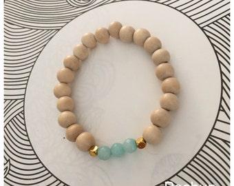 Seashell Jewelry … Beaded Wood Stacking Bracelet (1424)