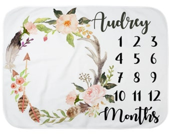 Baby Month Milestone Blanket- Floral - Antlers - Feathers - Boho - Girl - Personalized Baby Blanket - New Mom Baby Shower Gift