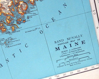 Maine State Map, Maryland and Delaware State Map - 1942 Vintage Map from World Atlas 2 Sided