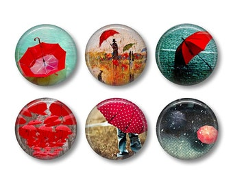 Red Umbrella pinback button badges or fridge magnets, fridge magnet set