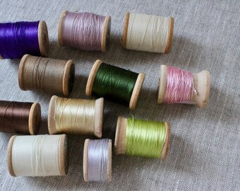 Vintage Wooden Spools for Collectors of Sewing Notions. Eleven Spools.