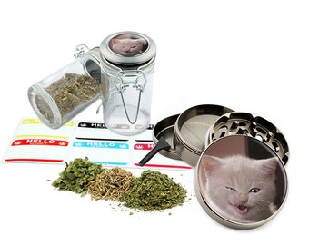 "Annoying Cat - 2.5"" Zinc Alloy Grinder & 75ml Locking Top Glass Jar Combo Gift Set Item # G123114-0034"