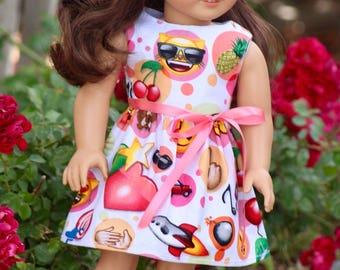 "18"" Doll Emoji Dress, You Design Finishing on Dress or Headband to Fit Like American Girl Doll Clothes, 18"" Modern"