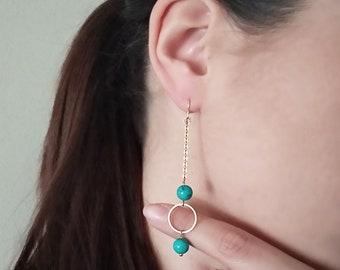 Turquoise earrings, Bohemian earrings, Gemstone earrings, Beaded earrings, Long gold earrings, Summer earrings, Geometric earrings, Gift