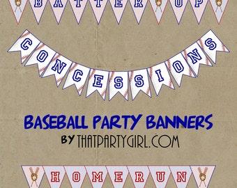 Baseball Party  Banner - DIY digital U Print - Instant Download