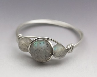 Labradorite Spectrolite Sterling Silver Wire Wrapped Bead Ring - Made to Order, Ships Fast!
