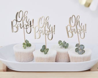 Gold Oh Baby Cupcake Toppers, Baby Shower Cupcake Toppers, Baby Shower Decorations, Baby Shower Tableware, Baby Shower Party Decor