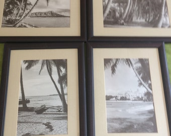 """COLLECTION of four Vintage Tropical black and white 18"""" by 13"""" matted & framed PHOTOS"""