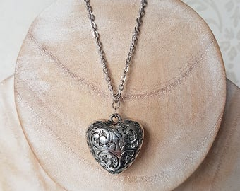 Silver Heart Long Necklace, Etched Puffed Heart, Valentines, Gypsy Boho Jewellery, Gifts for Her