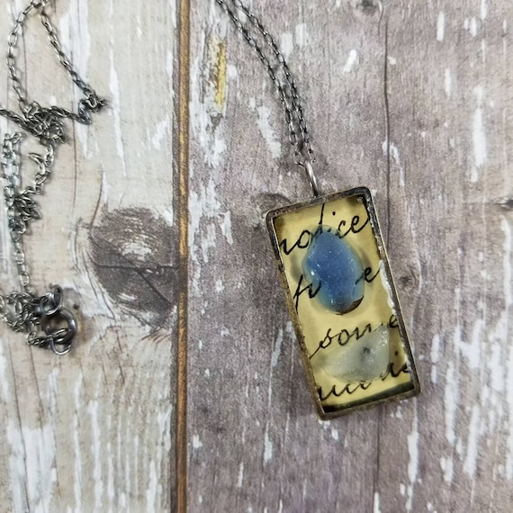 Mixed Media, collaged artwork, resin necklace, No. 3, Lake Erie beach glass, vintage script, jewelry grade resin, altered artwork