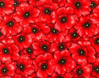 PADDED Ironing Board Cover made with Red Packed Poppies, select the size