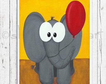 Elmer the Elephant, elephant with red balloon, elephant painting, cartoon elepehant, kids decor, kids bedroom, nursery