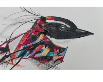 Drawing of a colorful mystical bird on paper.
