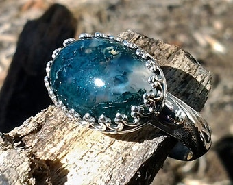 Moss Agate and Sterling Ring, size 7.5