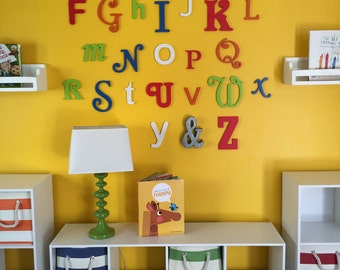 Painted Random alphabet set finished wooden letters wall decor - A through Z, Full Alphabet Set, Playroom Decor, School Room Decor, ABC Sign