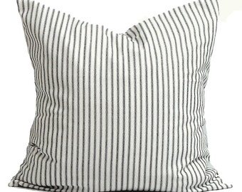 """TICKING PILLOW SALE.Ticking Stripe Pillow Covers for 16"""" Pillows. Black Ticking Decorative Pillow, Cushion, cm,French Country.Farmhouse"""