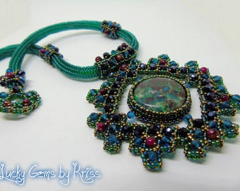 """Chrysocolla necklace """"Gaya"""", framed necklace, natural stones necklace, green chrysocolla, beadwork, bead embroidery, handmade jewelry"""