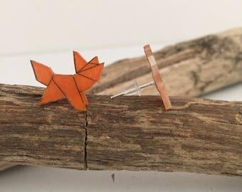 Boucles d'oreilles origami renard