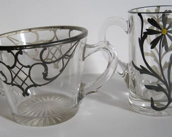 Clear Glass Creamer and Sugar Bowl with Silver Inlay Leaves and Daisy, 2 pieces