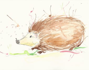 Hedgehog A4 art print