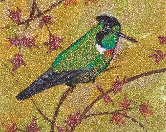 Glitter Painting - Hooded Visorbearer Hummingbird