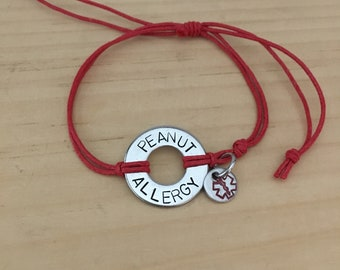 ONE medical alert or allergy stainless steel washer bracelet with small medical alert charm.