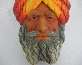 Legend Products 1972 Afgan Yellow Red Turban Chalkware Head