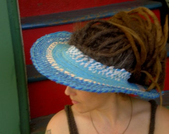 Custom only.  Summer Garden Sunhat Open Top Moldable, Topless Hat Wide Brim ...upcycle, reuse, recycle, hippie, garden,  dreads