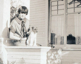 vintage photo Teen Girl w Parsons Jack Russell Terrier Dog on porch