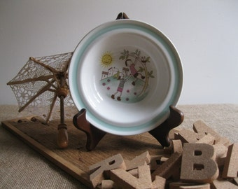 Vintage Arabia Ceramic Cereal Bowl-Children Playing Near A Tree-Made In Finland...Reshopgoods