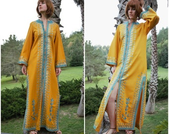 Caftan Dress / Moroccan Wedding Kaftan / Embroidered Formal Long Maxi Tunic in Metallic Amber Turquoise 60s 70s