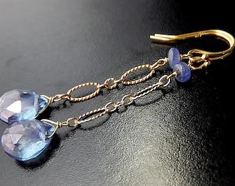 Blue Drop Earrings, Periwinkle Tanzanite, Gold Vermeil, Mystic Quartz Teardrop Earrings