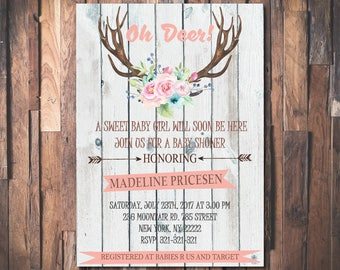 Oh deer baby shower invitation, Baby Sprinkle invitation, Girl Baby Shower Invitation, Printable Baby Shower invitation 1053