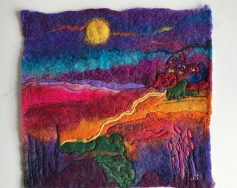 Moon landscape felted woolpainting