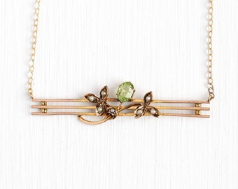 Peridot Bar Necklace - Vintage 10k Yellow Gold Seed Pearl Pin Pendant - Antique 1900s Victorian Conversion Brooch Flower Jewelry Genuine Gem