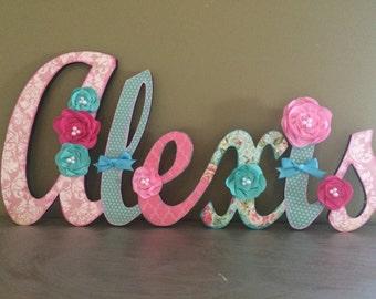 Custom Kids Name Sign - Nursery Wall Letters Name Sign - Wood Wall Letters Cursive Style 6 Letter Name