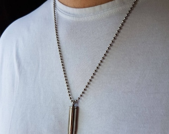 Mens Stainless Steel Bullet  - Mens Bullet Necklace - Bullet - Stunning Bullet pendant