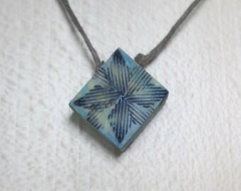 My little blue square, wooden pendant