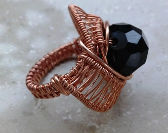 chunky wire wrapped copper ring with black bead