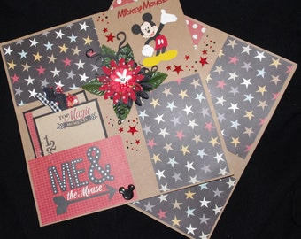 Disney Mickey Mouse 2~12x12 Premade Scrapbook Layouts