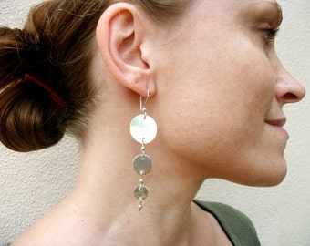 "Sterling Silver-Disc-""Moon""Long-Metal-Earrings / Free US Shipping"