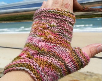 Hand Knitted fingerless gloves, wool fingerless gloves, women's gloves, knitted in Australia