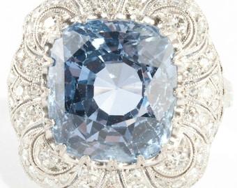 Exqisite Vintage 1920's Platinum Cushion Cut Sapphire & Diamond Solitaire Ring 12.06ctw
