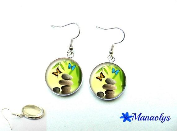 Silver earrings zen, butterflies 1163 glass cabochons