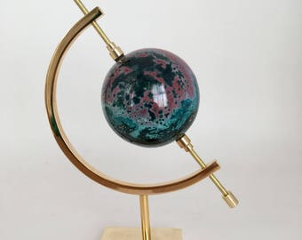 Ocean Jasper Sphere with Brass Display | Rare Turquoise Ocean Jasper | Gemstone Display