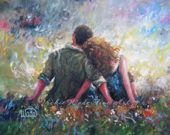 Lovers Couple Art Print, loving couple hugging wall art, romantic art, red head lady, autumn lovers, gift, married love, Vickie Wade Art